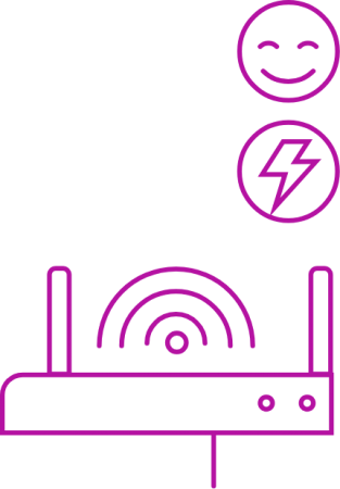 Broad band router with happy face